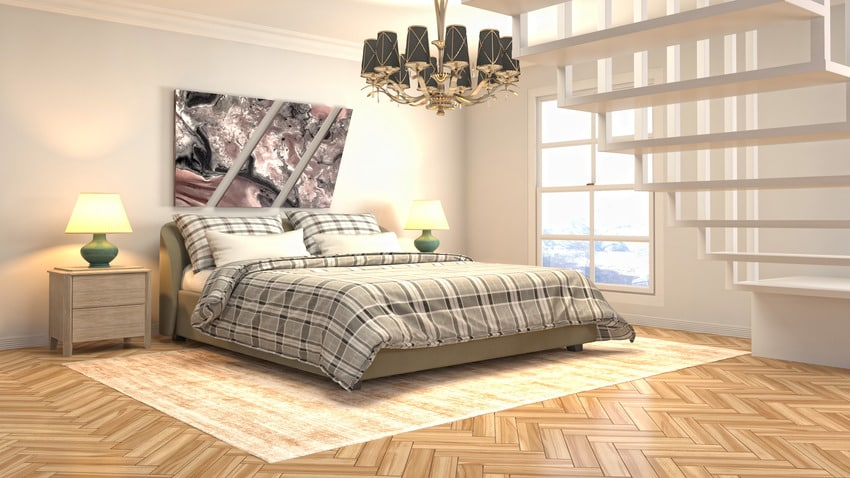 Flannel bed sheet in a 3d illustrated bedroom interior