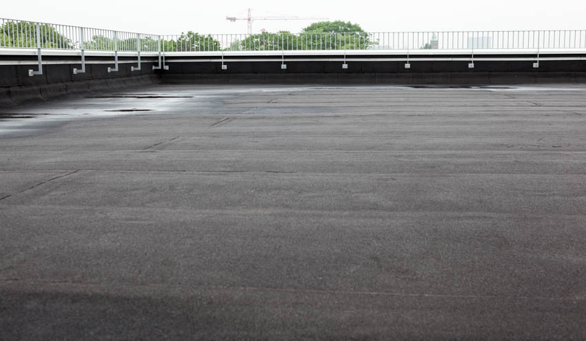 Flat roof with peel and stick