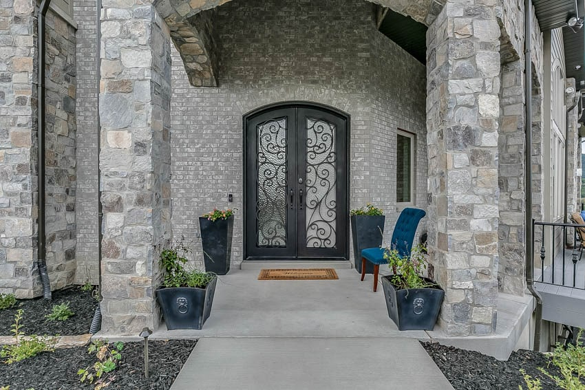 Frosted glass door concrete masonry wall and pillar