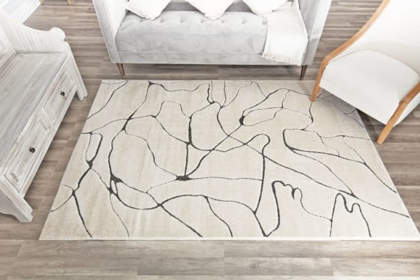 Geometric contemporary drizzle tan and black rug