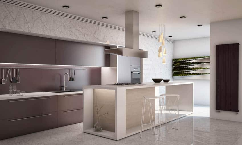 Geometric island in modern kitchen