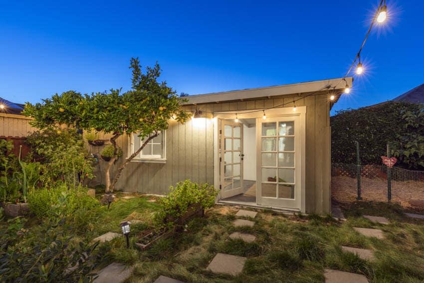 Glass front door backyard guest house