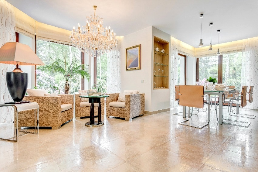 glossy sitting and dinning room with ceramic tiles
