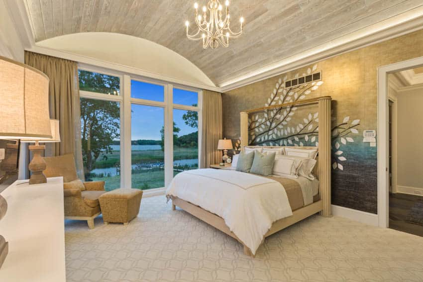Gold bedroom chandelier lamp sofa chair glass door curtain