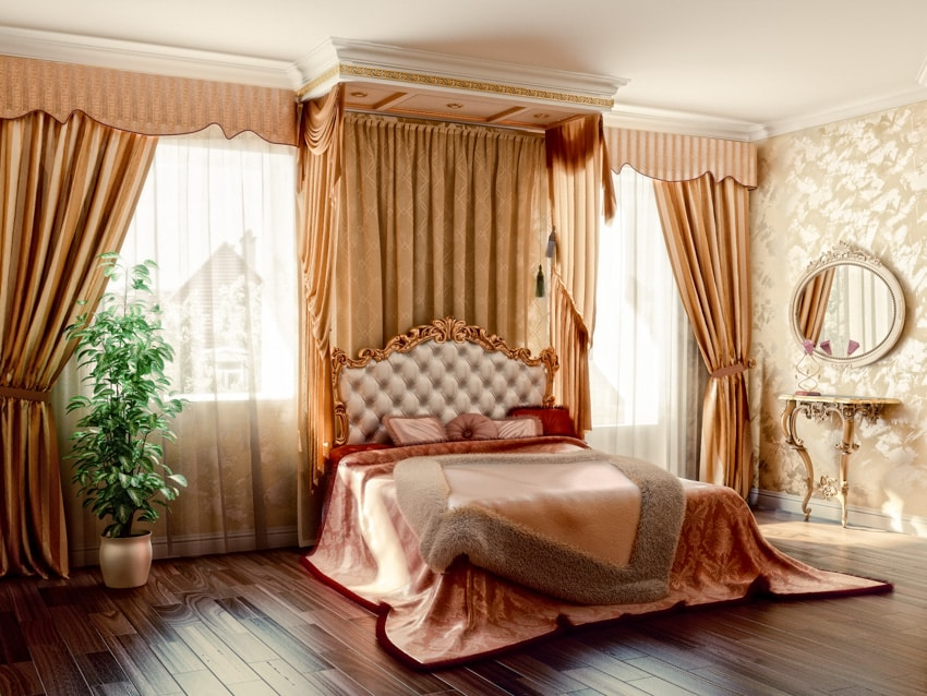 Gold bedroom with drapery valance set