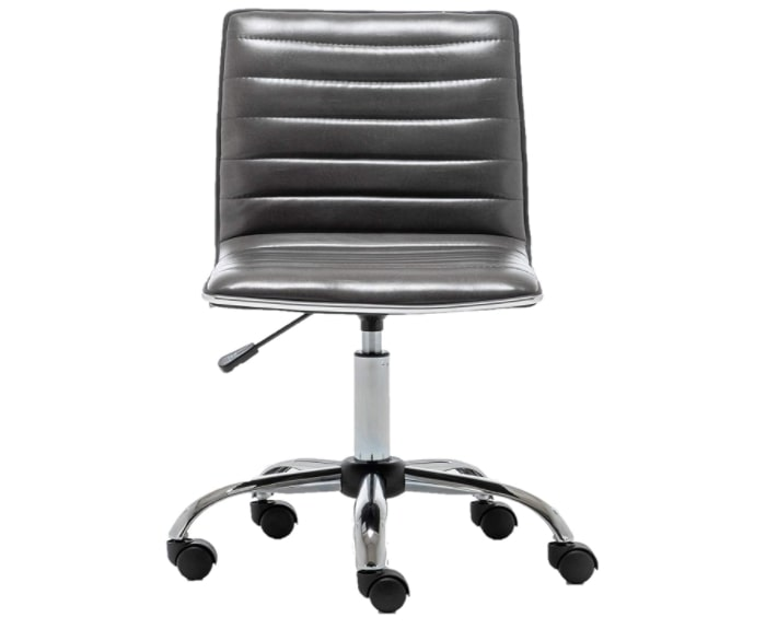 Gray faux leather swivel office chair