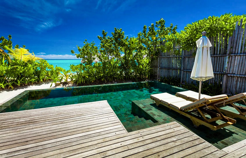 Green bottom lagoon pool with wood deck and tanning ledge