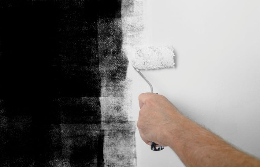 Hand painting a black wall with white paint using a roller