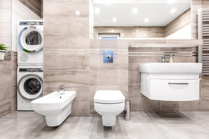 High gloss bathroom with basin cabinet mirror toilet bidet washer and dryer
