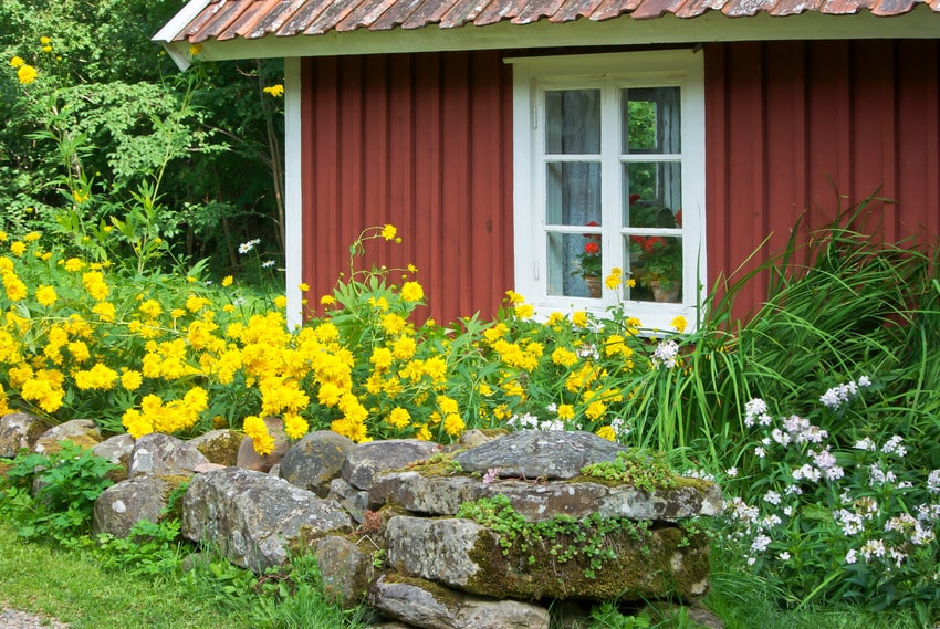 House with board and batten siding surrounded by flowers