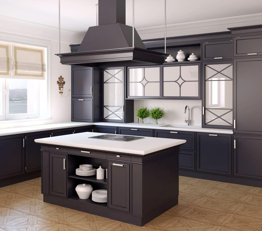 Interior of classic black kitchen