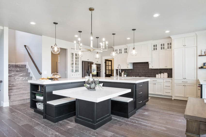 Kitchen center island with built in booth