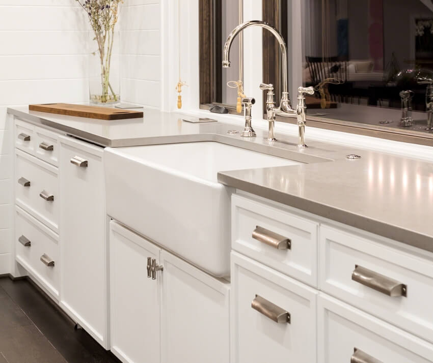 Kitchen with fireclay sink and cabinets