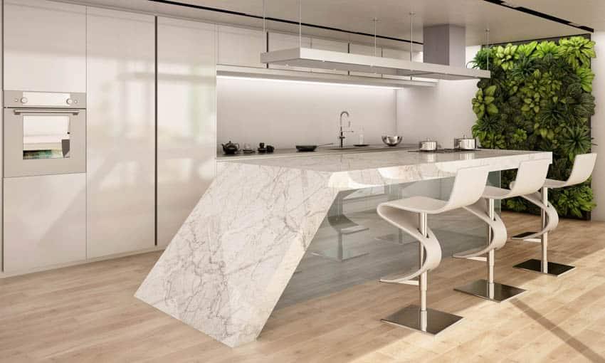 Kitchen island with geometric countertop
