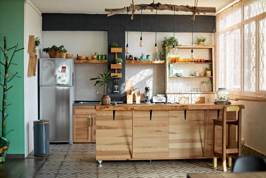 Kitchen with mobile kitchen island on wheels wood shelves windows
