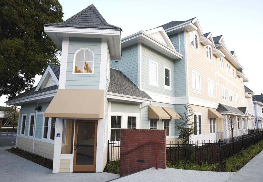 large apartment complex with exterior fiber cement shiplap siding