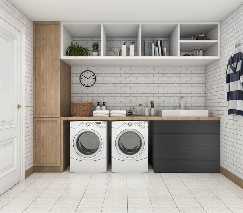Laundry chute washing machines shelves