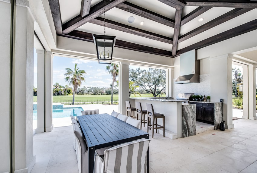 Led candle hanging from ceiling outdoor kitchen and dining area