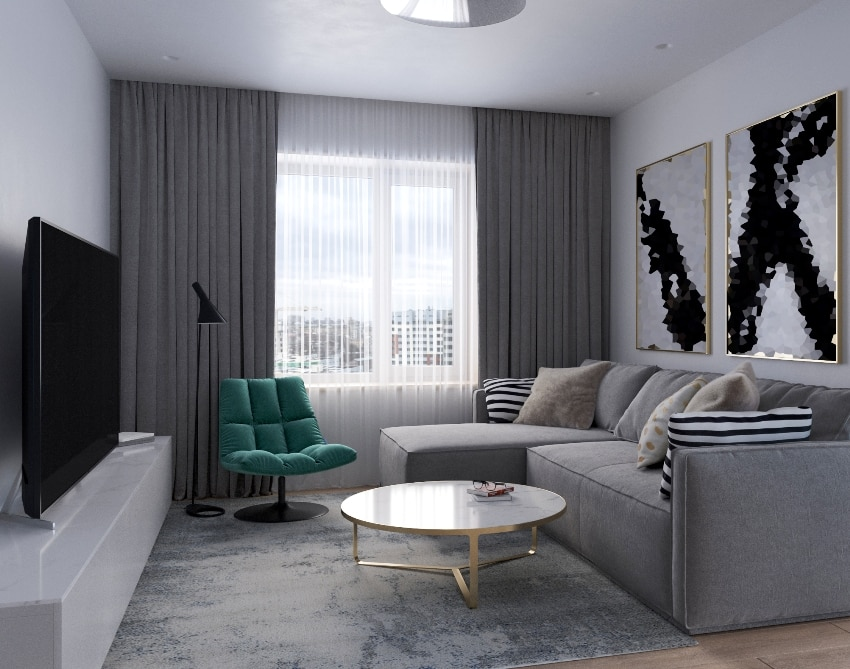 living room interior design in mediterranean architectural style with different lighting windows and blackout curtains