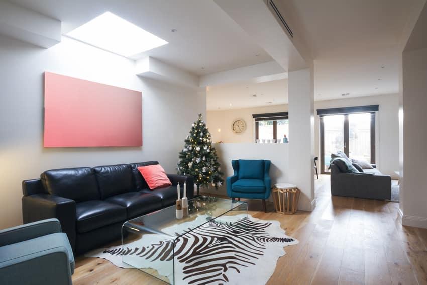 Living room interior with animal print rug