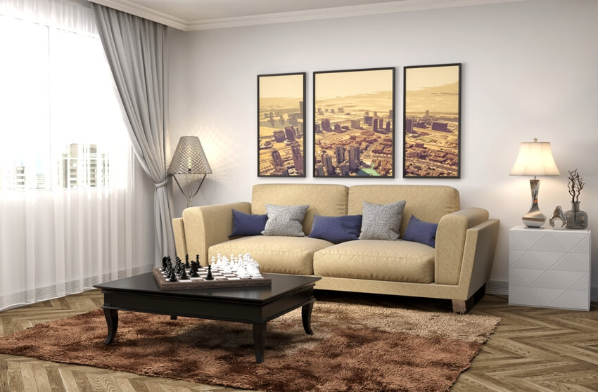 Living room interior with furniture wall decor and brown carpet