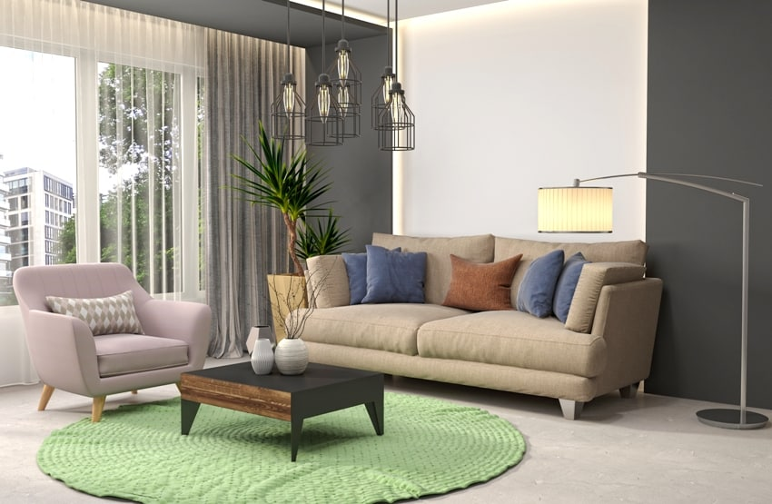 living room with gray walls sofa coffee table and carpet on the floor