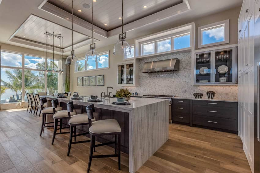 Luxury kitchen and dining area combined