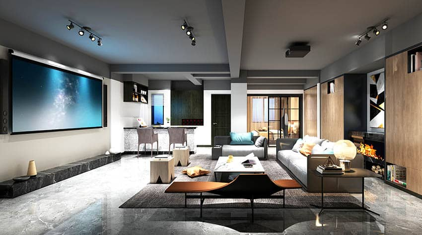 Luxury man cave gray painted walls projector screen tv stylish home bar and modern sofas