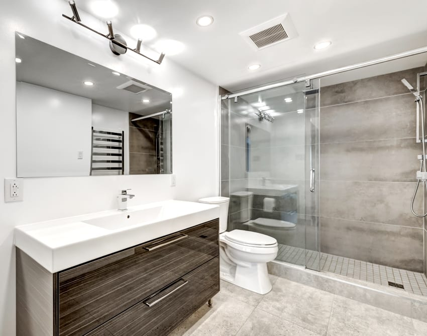 luxury modern renovated bathroom with drawers and good lighting