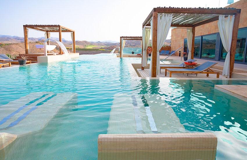 Luxury pool cabana lounge area pool