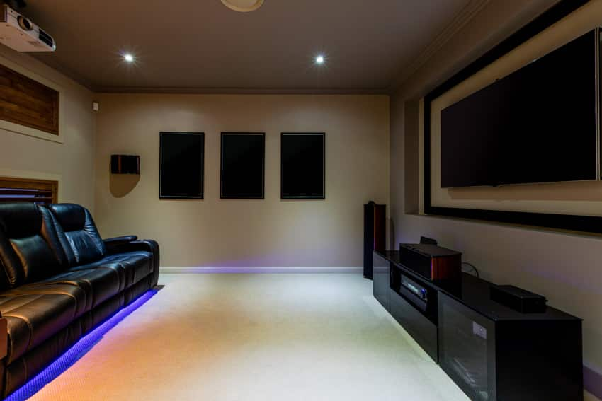 Man cave home theater with mood lighting