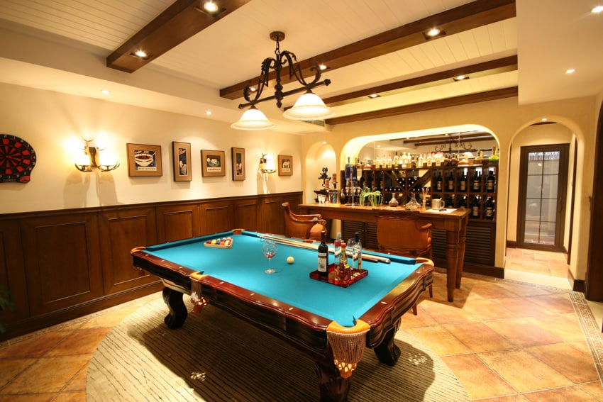 Man cave with billiards table bar coffered ceiling and wall mounted lights
