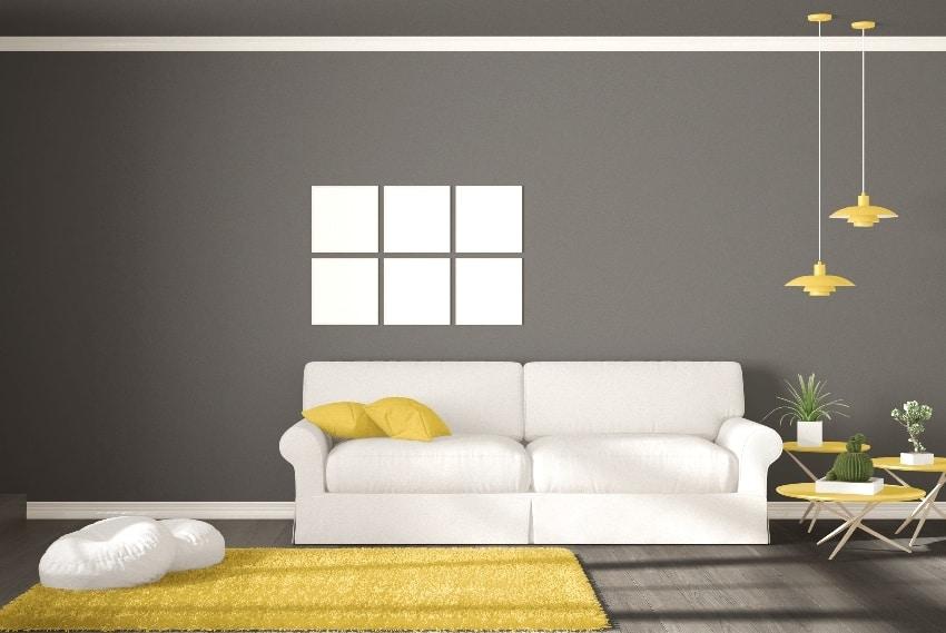 minimalist room simple white gray and yellow living with big window scandinavian classic interior