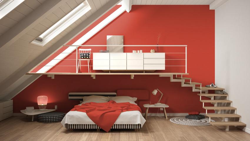 Minimalist Scandinavian style bedroom interior with red walls