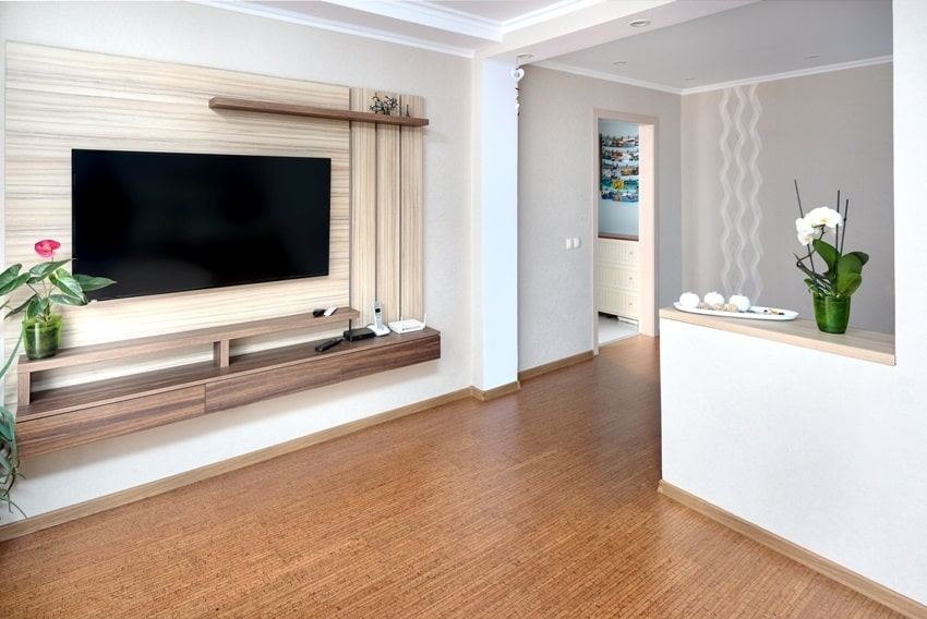 modern apartment living room with large tv over wooden cabinet orchid cork floorboards and door to corridor
