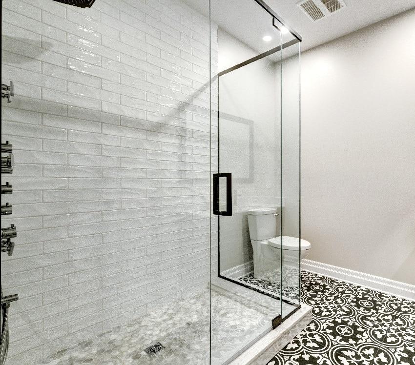 Modern bathroom with glass shower door