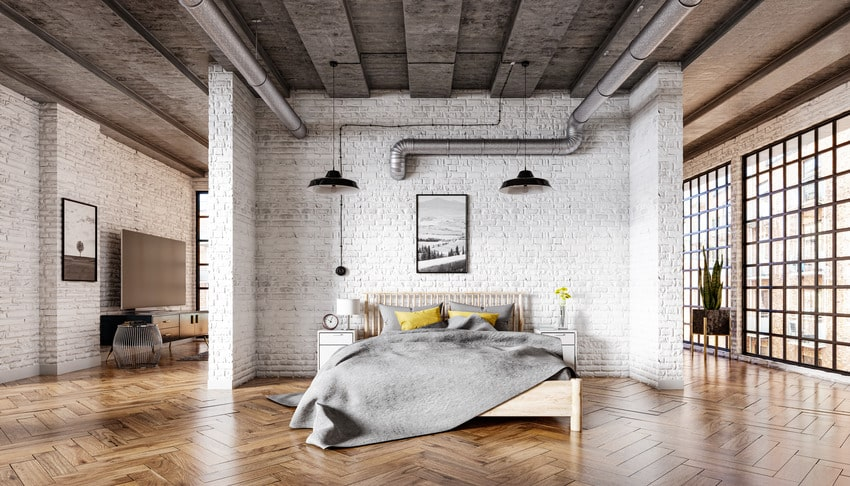 Modern bedroom interior with bed with jersey bed sheet
