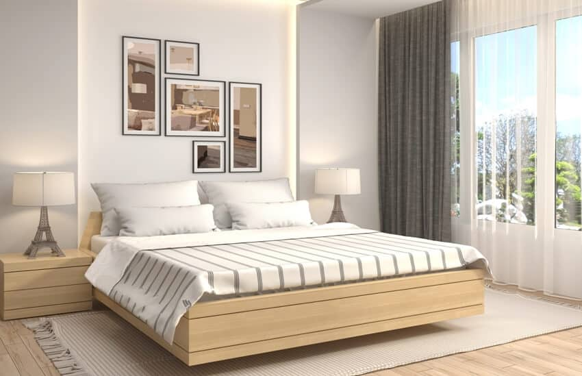 Modern bedroom interior with neutral tone colors