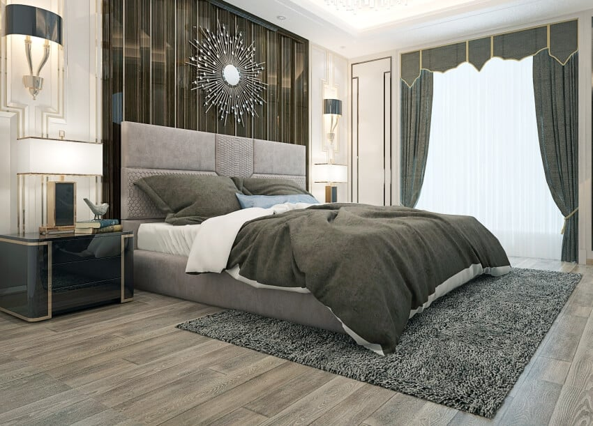 Modern bedroom with gray carpet on the floor bed and curtains