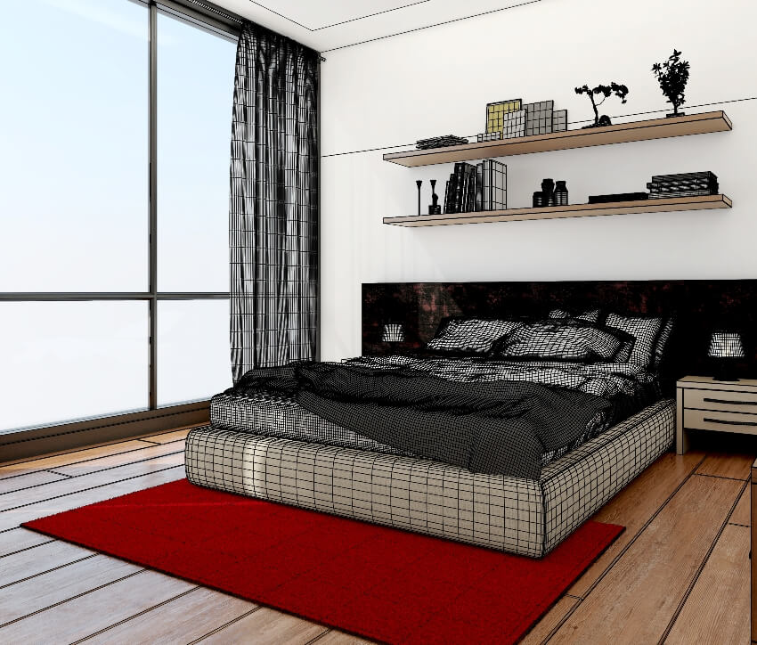 Modern bedroom with wood floors red carpet bed and white walls