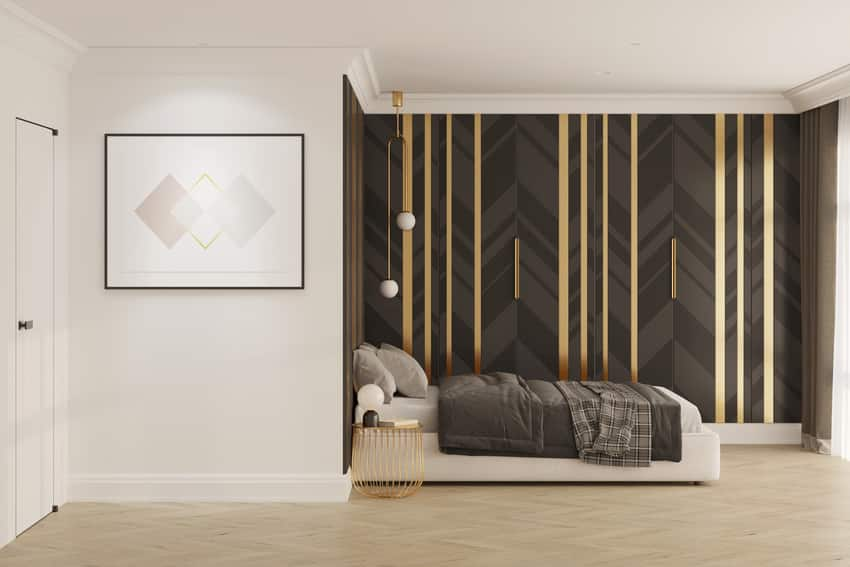 Modern black and white bedroom with illuminated horizontal poster
