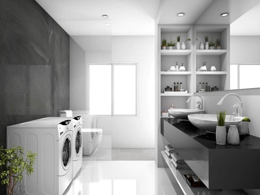 Modern black laundry room and toilet