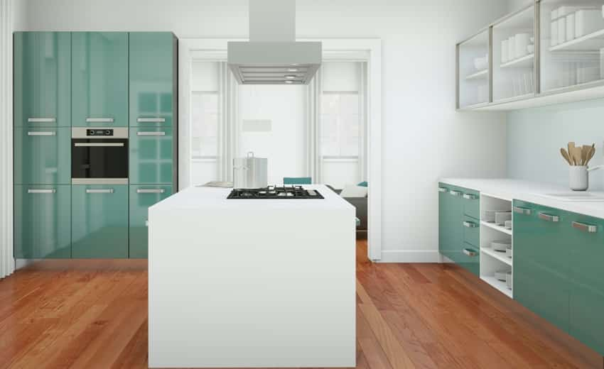 Modern blue green kitchen with white walls and center island