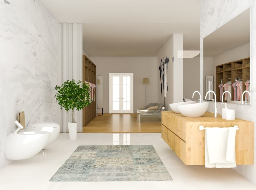 modern closet with bathroom