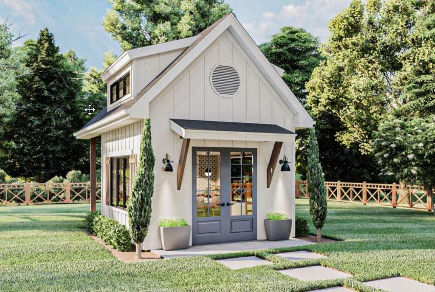 Oficina exterior del patio trasero de la casa de campo moderna