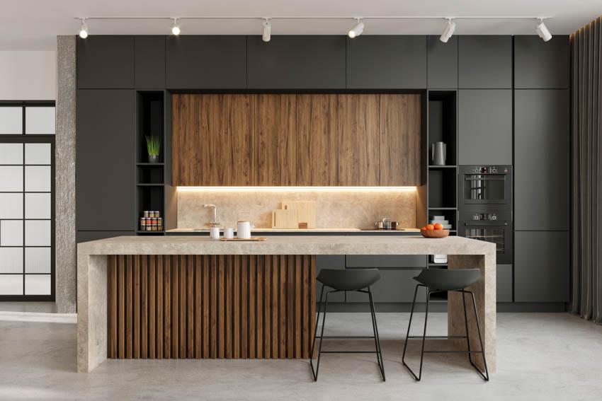 Modern kitchen island black cabinets with lighting