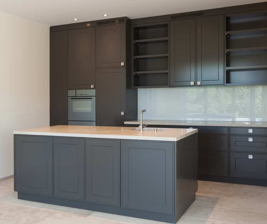 Modern kitchen with black cabinets and center island