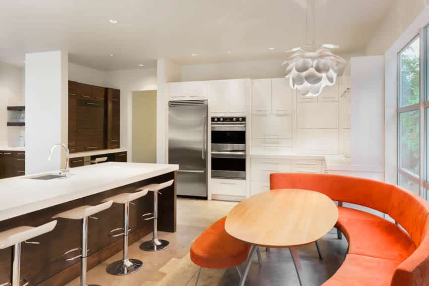 Modern kitchen with island stools and booth