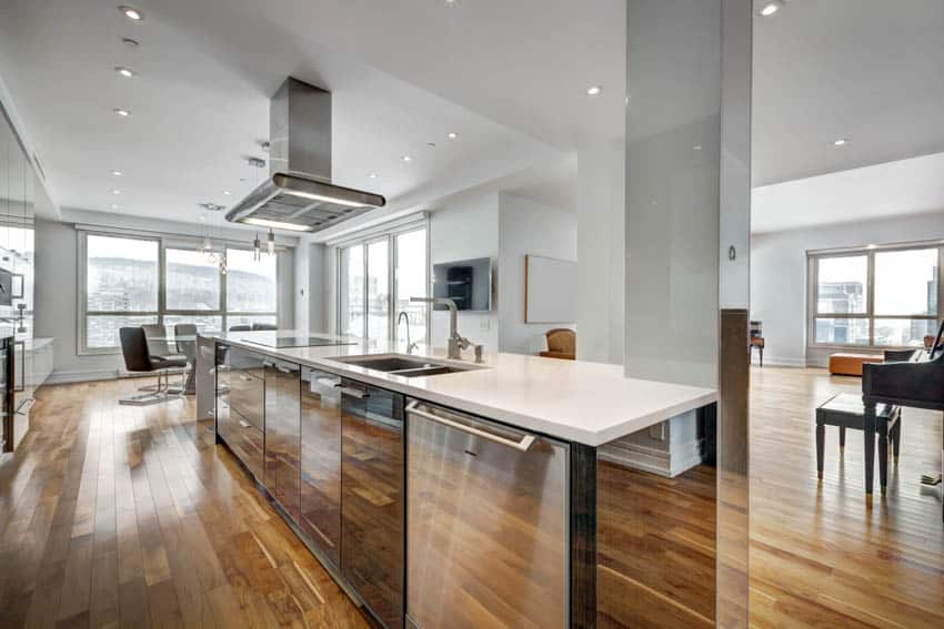 Modern kitchen with stained wood floor center island hood