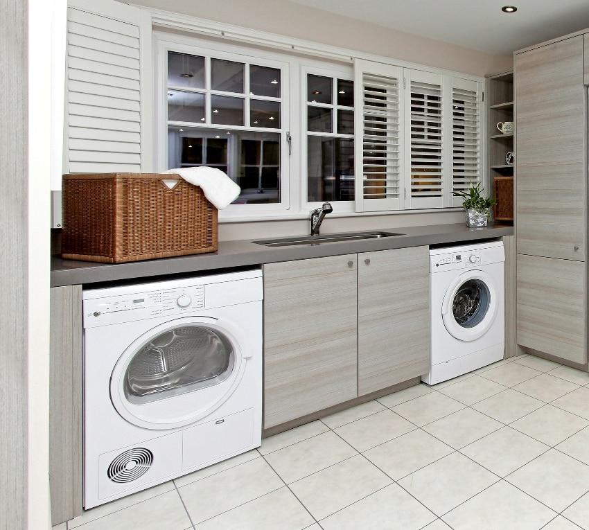 modern laundry room inside big garage interior